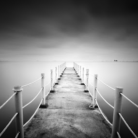 The Southern Most Tip Of Mainland Asia by Fairuzee Ramlee - Buildings & Architecture Bridges & Suspended Structures ( exposure, b&w, landascape, fine art, seascape, long )