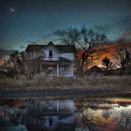 The Last Reflection by Eric Demattos - Buildings & Architecture Decaying & Abandoned ( moon, reflection, lost, sunset, eric demattos, abandned, gone, sunrise )