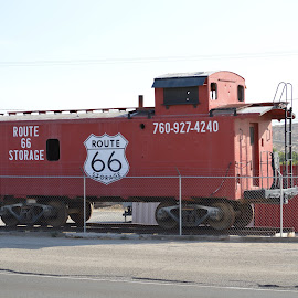 Retired caboose by Heather Walton - Novices Only Objects & Still Life ( red, caboose, retired, route 66, storage )