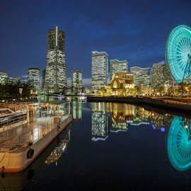 Minato Mirai by Nyoman Sundra - City,  Street & Park  Amusement Parks ( japan, park, amusement, night, city )