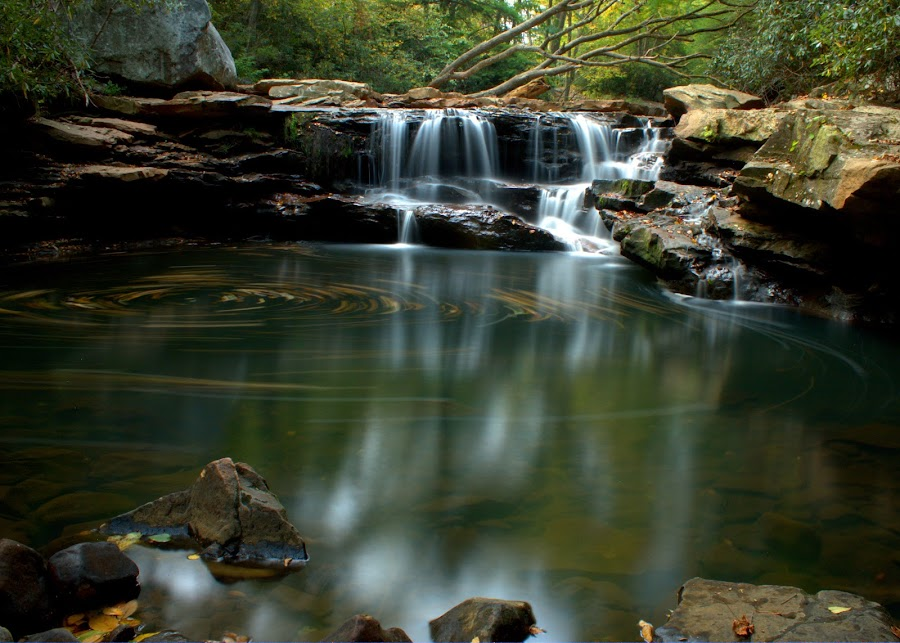 Deckers Creek Waterfall by Theodore Frick - Landscapes Waterscapes ( water, circles, nature, west virginia, waterfall, swirls, deckers creek )
