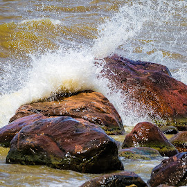 Waves and Rocks by Dave Lipchen - Nature Up Close Rock & Stone ( waves and rocks )