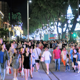Pedestrian Crossing at Busy Orchard Road by Dennis Ng - City,  Street & Park  Street Scenes