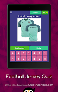 Game FOOTBALL Jersey no. Quiz APK for Kindle