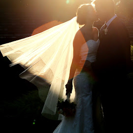 Sun Flare Kiss  by Tamika Vickers - Wedding Bride & Groom