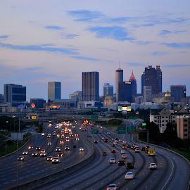 Evening rush hour, Atlanta by John Pobursky - City,  Street & Park  Skylines ( cityscapes, freeways, georgia, atlanta, evening )
