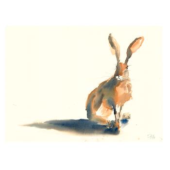 Moon Hare art painting watercolour