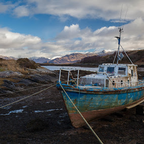 Requiring Paint by Iain Cathro - Transportation Boats ( hills, scotland, skye, snow, landscape, boat )