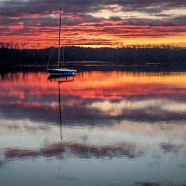 Boat at Anchor 12/2/16 by Bob Ricketson - Landscapes Sunsets & Sunrises ( clouds, water, coxsackie, sailing, colors, reflections, sunrise, morning, boat, riverside park, hudson river, river )