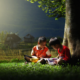 Morning Reading by Suloara Allokendek - Babies & Children Children Candids ( child, reading, happy, morning, light )