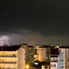 Τhunderbolts  by Sakis Kaloua - Landscapes Weather ( clouds, thunder, night photography, thunderstorm, greece, kilkis, weather, summer, view, cityscape, nikon, night shot, balcony, nightscape )