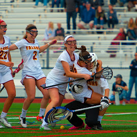 celebration pile on by Kevin Mummau - Sports & Fitness Lacrosse ( hug, hugjump, celebration, win, celebrate )