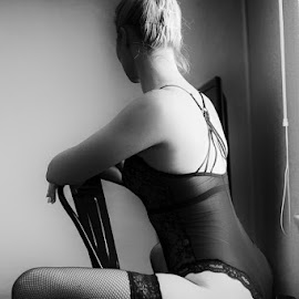 Seated by Mark Hewetson - Nudes & Boudoir Boudoir ( lingerie, black and white, boudoir, behind, back,  )