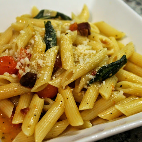 Penne with Roasted Sungold Cherry Tomatoes, Pancetta and Fried Sage