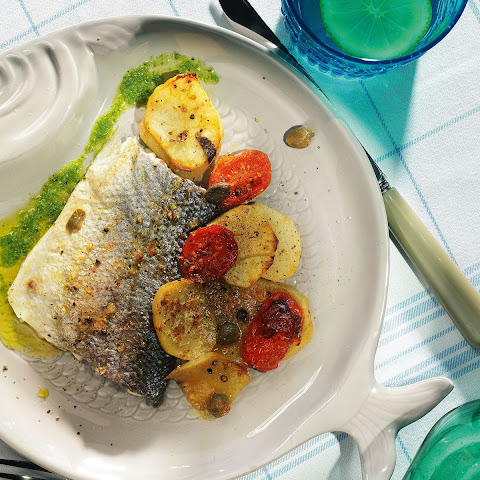 Roasted Sea Bass With Potatoes