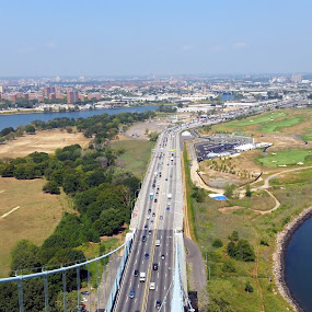 Bronx Whitestone Bridge and Trump Link GC by Chris Gray - Buildings & Architecture Bridges & Suspended Structures ( water, golf course, sky, cars, bridge, landscape,  )