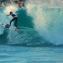 Surfing at the Wedge by Jeannine Jones - Sports & Fitness Surfing