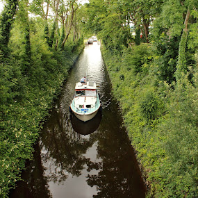 shipshape by Michael Croghan - Landscapes Waterscapes ( water, royal canal, bushes, green, royal, family, shadow, trees, positive, boat, canal )
