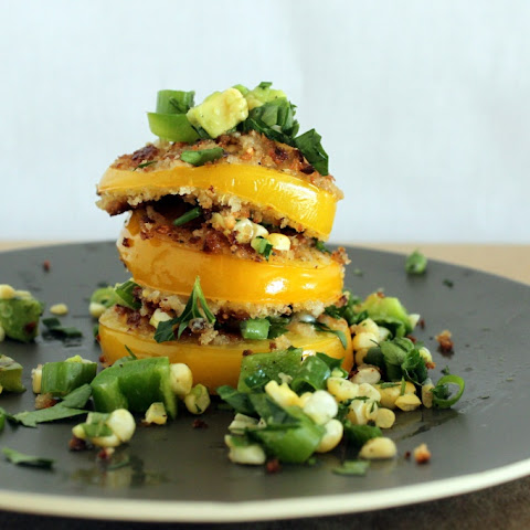 Fried Yellow Tomatoes with a Grilled Corn and Pepper Salsa