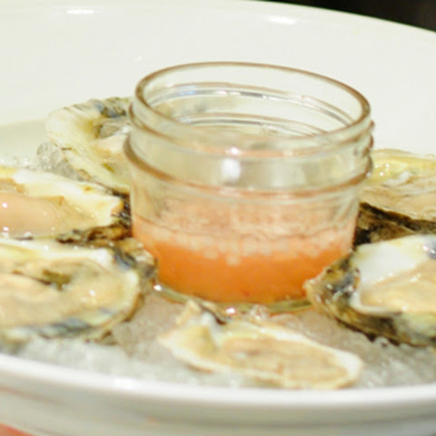 Oysters on the Half Shell with Muscadine and Apple Mignonette