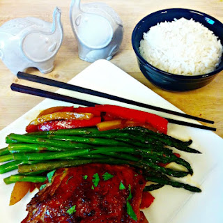 Asian BBQ Chicken Thighs with Asparagus-Pepper Saute
