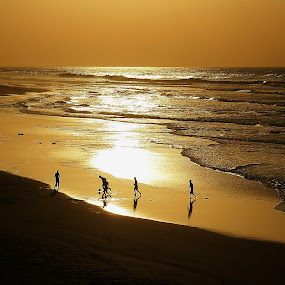 Gold Football by Branko Frelih - Landscapes Sunsets & Sunrises ( landscape, beach, silhouette,  )