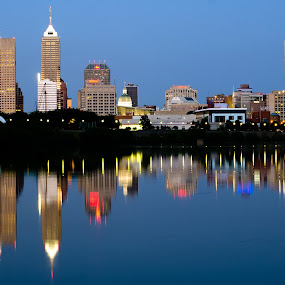 Indianapolis by Erik Lykins - City,  Street & Park  Skylines ( indiana, reflection, skyline, white river, indianapolis, buildings )