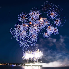 Blue Velvet by Cory Bohnenkamp - Abstract Fire & Fireworks ( abstract, sky, celebration of light, fireworks, vancouver, fire )