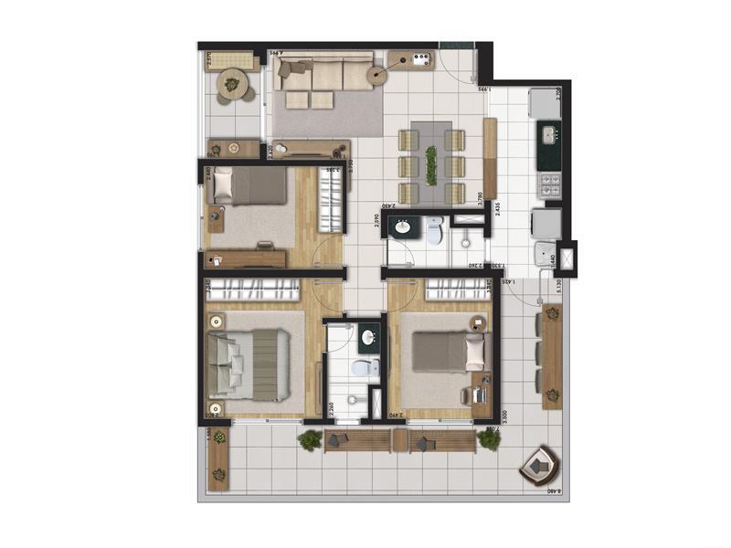 Planta Tipo 91m² com 3 Dormitórios (Garden)