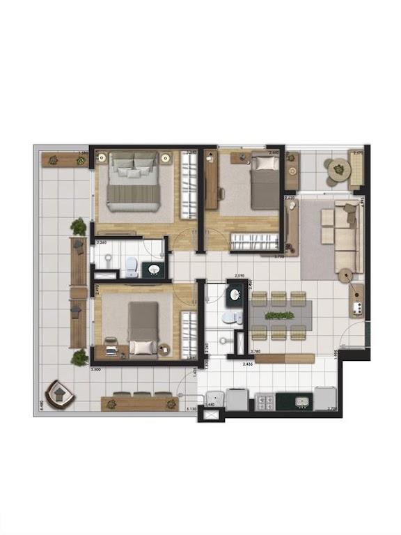 Planta Tipo 72m² com 3 Dormitórios