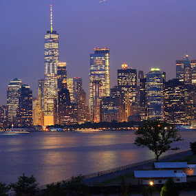 NYC skyline during night by Ram Seth - Buildings & Architecture Office Buildings & Hotels ( new york city, night skyline, buildings, nyc, skyline, architecture )