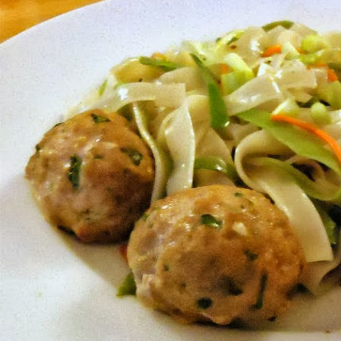 Asian-Style Meatballs with Spicy Rice Noodles