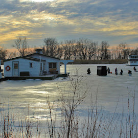 Ice Fishermen at Sunset by Carolyn Taylor - Landscapes Weather