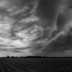 Storm Clouds by John  Pemberton - Landscapes Cloud Formations ( clouds, black and white, minimalism, cloudscape, minimalist, storm,  )