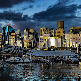 Sydney -Pier 26- by Patric Rosberg - City,  Street & Park  Street Scenes ( skyline, reflection, harbor, ocean, beauty, architecture, travel, people, business, city, modern, center, life, sky, skyscraper, transport, buildings, central, sydney, water, financial, office, structure, building, beautiful, sea, tourism, photo, urban, landmark, tower, corporate, bay, color, sunset, outdoor, scene, scenery )