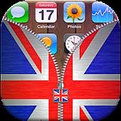 UK Flag Zipper Lock APK for Bluestacks