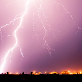Storm Over Altus by Glenn Patterson - Landscapes Weather ( fence, orange, lightning, sky, thunderstorm, purple, weather, storm, planes )