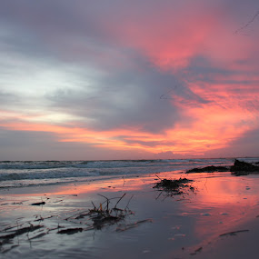 Beautiful Reflection by William Rhodes - Landscapes Sunsets & Sunrises ( sand, reflection, sunset, ocean, beach )