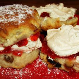 SCONES by Karen Tucker - Food & Drink Candy & Dessert ( strawberry conserve, sweet, still life, food, scones, yummy, close up, cream, dessert )