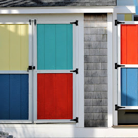 Colorful Doors by Leah Zisserson - Artistic Objects Other Objects ( doors, red, blue, rhode island, cottage, colors, yellow )