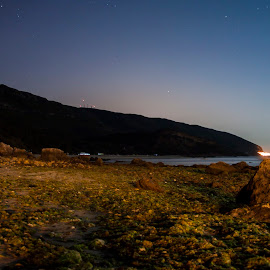 where the land meets the sea by Olivério Pires - Landscapes Waterscapes ( hill, setubal, stars, pires. olivério, sea side, land, night, portugal, photo, noite )