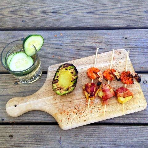 Grilled Shrimp & Bacon Wrapped Pineapple Skewers