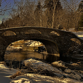 Bridge Over South Brook by Harold Bradley - Buildings & Architecture Bridges & Suspended Structures ( hills, seasonal, artistry, painters paradise, winterscape, covering, lakes, solitude, landscape, frozen, wintertime, walking and hiking trails, laden, natures blanket, brooks, snow, water, calming, beautiful, white, sedate, handmade, forest, heavy, relaxing, woods, amazing, ponds, winter, fluffy, color, trees, bridge )