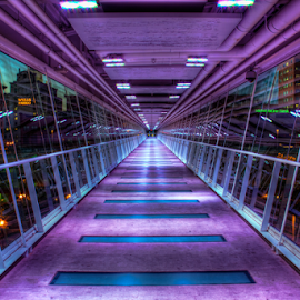 Davenport Skybridge by Tom Weisbrook - Buildings & Architecture Other Interior ( davenport, iowa, pedestrian, walkway, river drive, elevated walkway, kaleidoscope lighting )