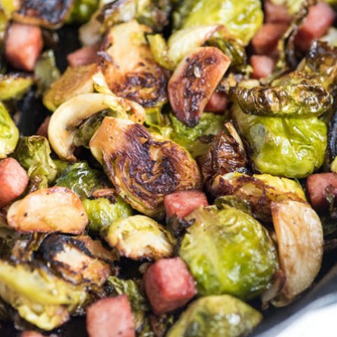 Perfectly Roasted Brussel Sprouts Recipe with Ham and Garlic
