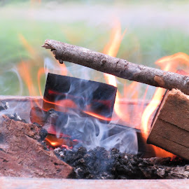 Summer fire  by Faye Knighten - Abstract Fire & Fireworks ( firepit and family, summer )