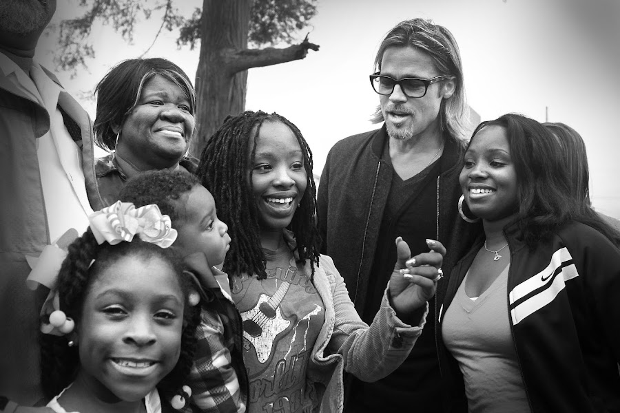 Brad Pitt Visits NOLA families by Aaron St Clair - People Musicians & Entertainers