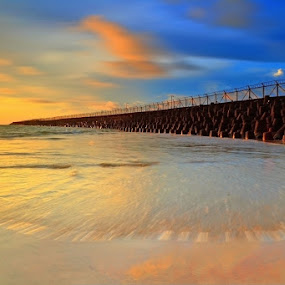 Motion at Dam Beach by Agus Devayana - Landscapes Waterscapes