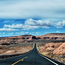 Long way home !  by Nelida Dot - Transportation Roads ( beautiful, road, nature, clouds, loneliness, quiet, red rock, travel, long,  )