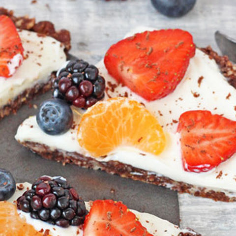 Healthy No Bake Chocolate Fruit Pizza